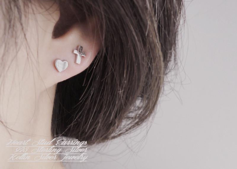 Tiny Heart Earrings Studs Sterling Silver
