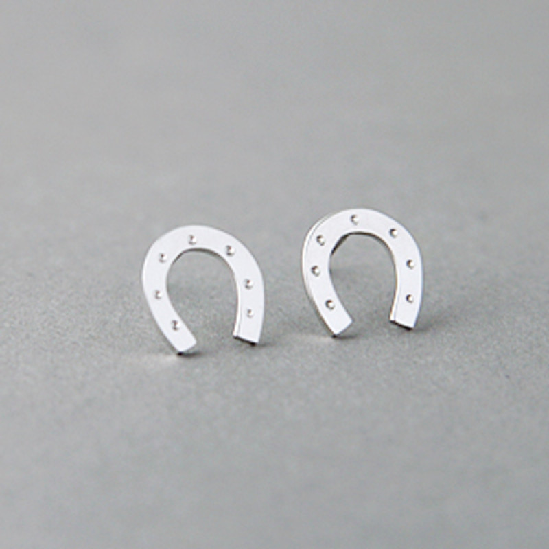 White Gold Lucky Horseshoe Stud Earrings Sterling Silver from kellinsilver.com