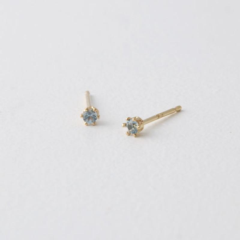 2mm Swarovski Solitaire Studs Gold Six Claw Earrings from kellinsilver.com - aquamarine