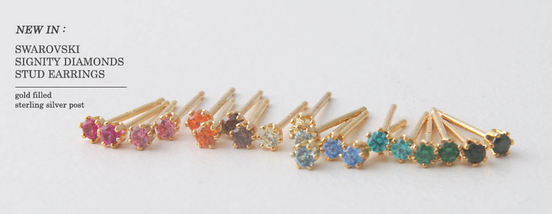 2mm Swarovski Solitaire Studs Gold Six Claw Earrings from kellinsilver.com
