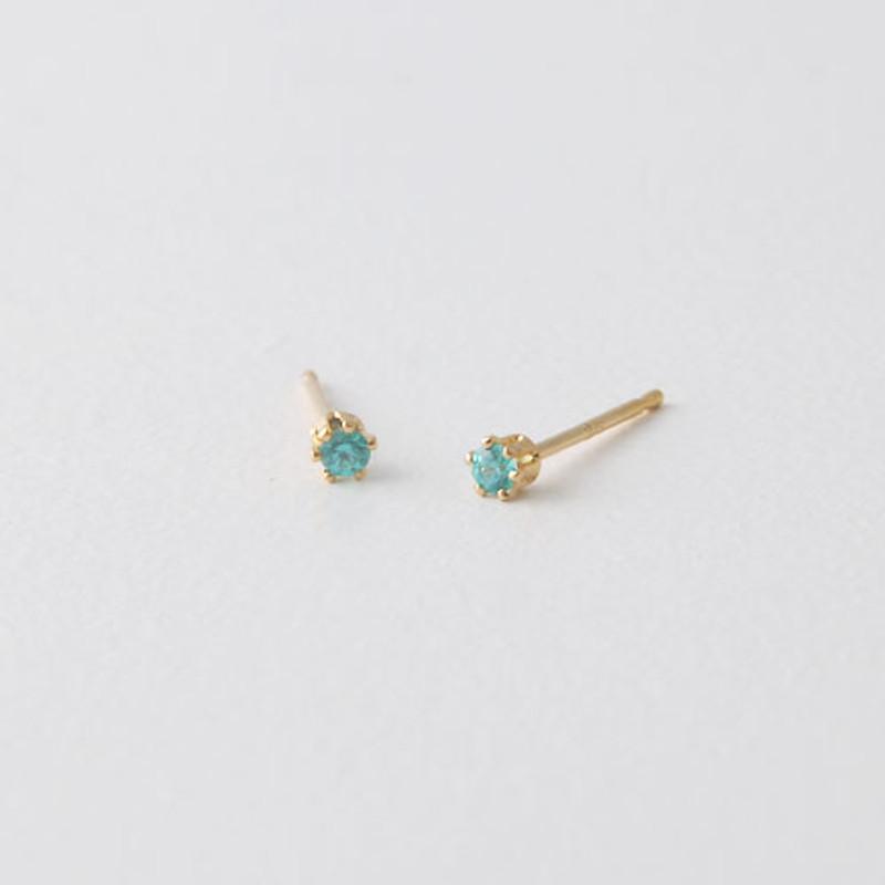 2mm Swarovski Solitaire Studs Gold Six Claw Earrings from kellinsilver.com - blue zircon