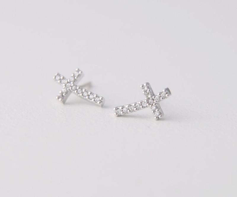 Swarovski Curved Sideways Cross Earrings White Gold