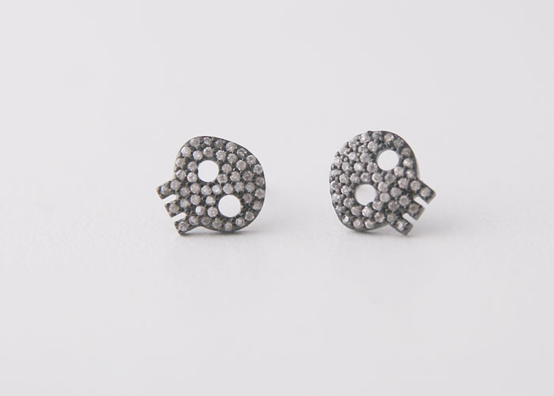 Swarovski Black Skull Earrings Studs