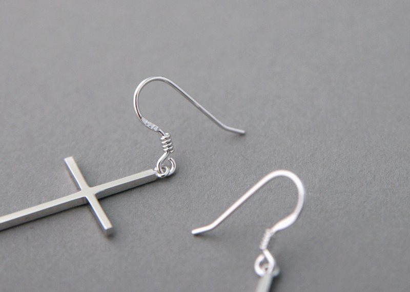 Sterling Silver Cross Dangle Earrings from kellinsilver.com