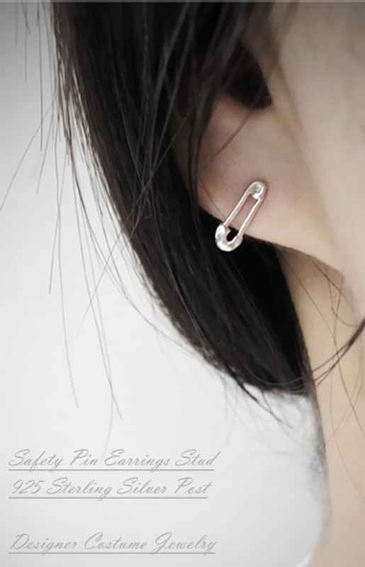 Tiny Safety Pin Earrings Stud