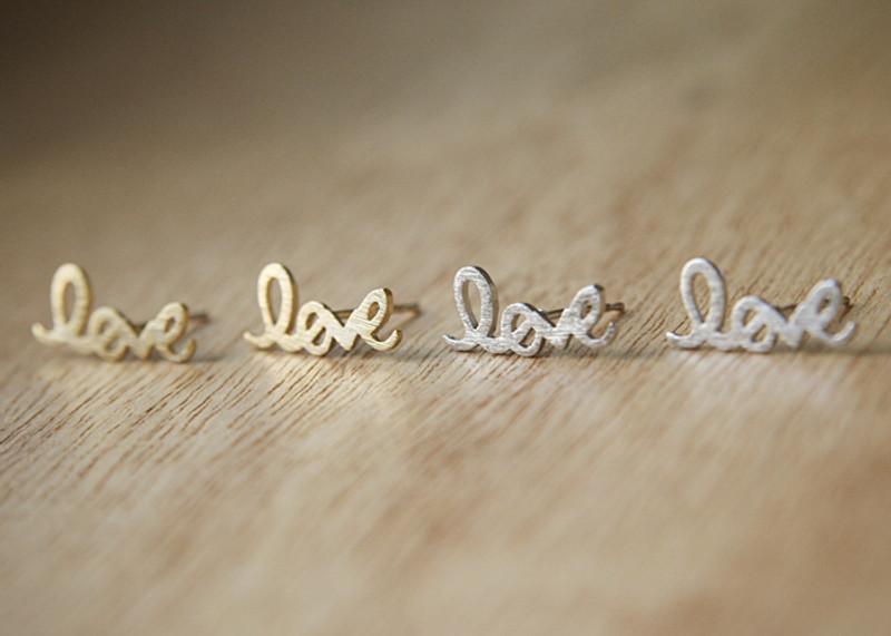 Gold Love Script Earring Studs Kellinsilver Com