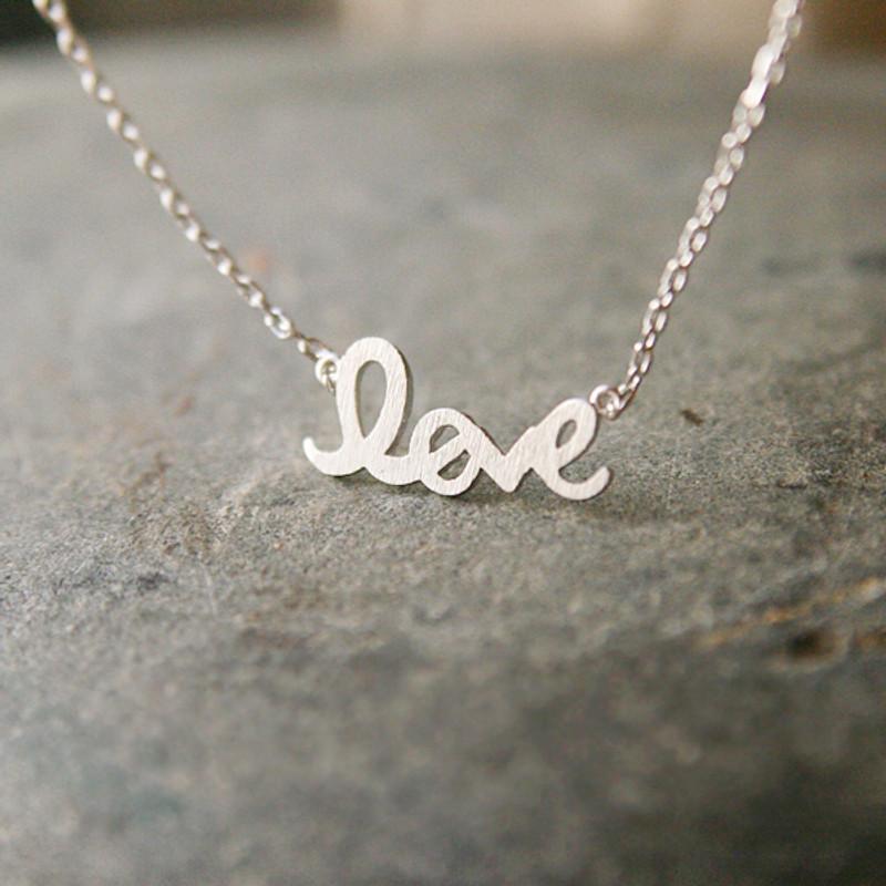 Silver Love Script Necklace