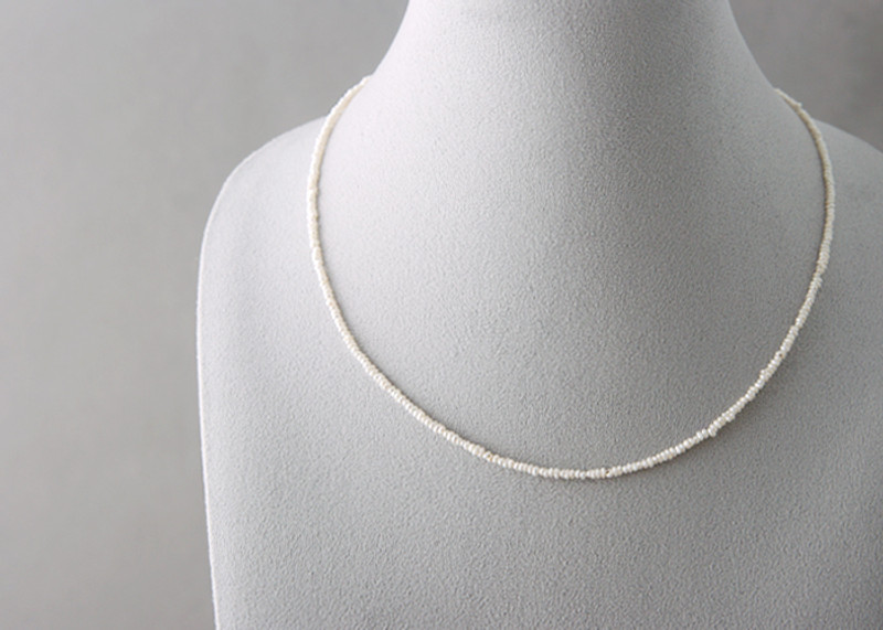 1mm Freshwater Button Pearl Strand Necklace Sterling Silver from kellinsilver.com