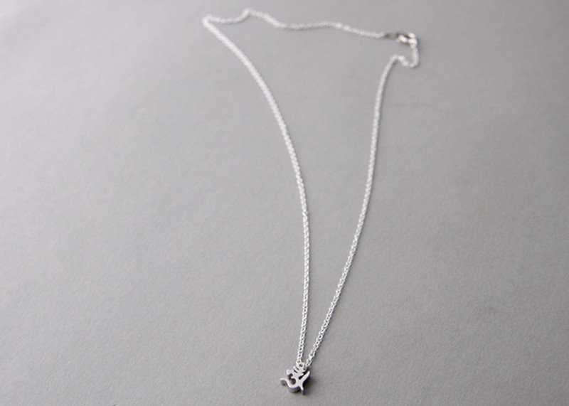 Sterling Silver Ohm Aum Om Necklace