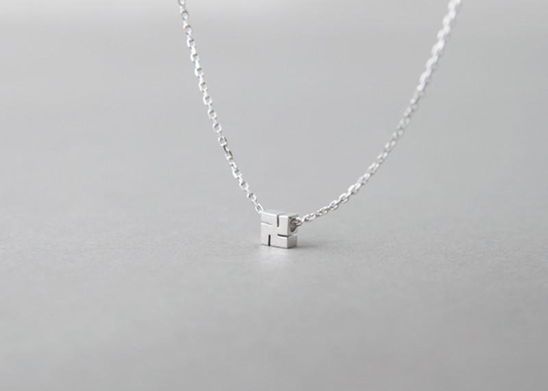 Tiny Hindu Swastika Necklace Sterling Silver