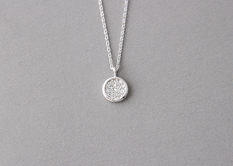 60cm CZ Pave Disc Charm Necklace Sterling Silver