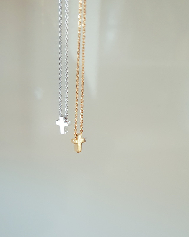 Tiny Cross Necklace Sterling Silver on kellinsilver.com