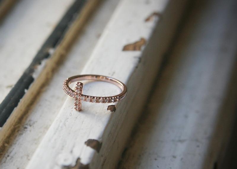 CZ Sideways Cross Ring Rose Gold