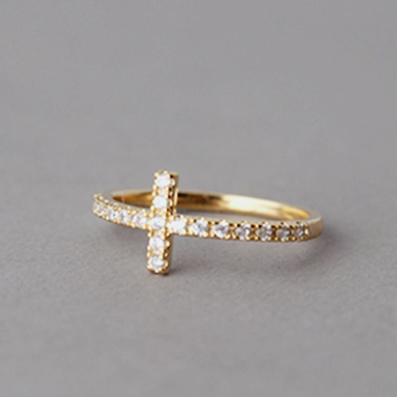CZ Sideways Cross Ring Gold