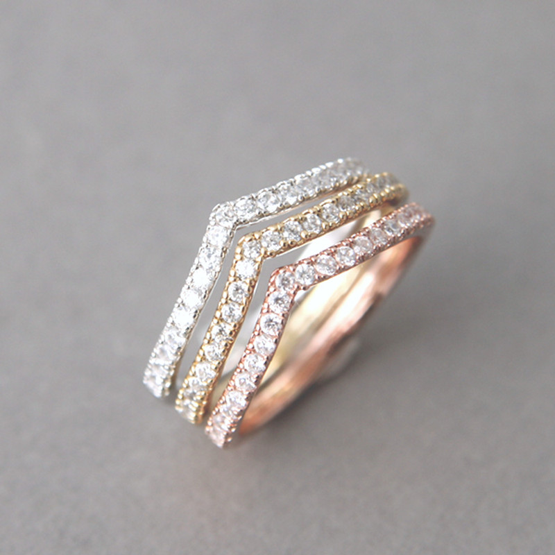 CZ Tiara V Ring Gold from kellinsilver.com