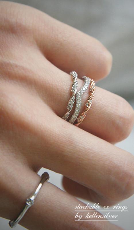 CZ Elegant Single Ribbon Ring Rose Gold