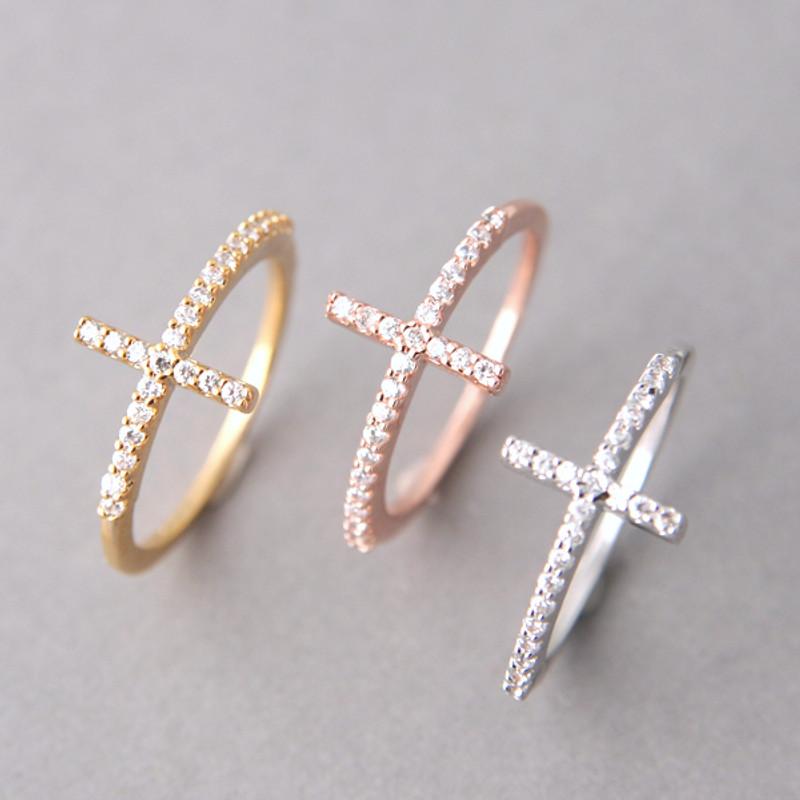 Rose Gold CZ Sideways Cross Ring Sterling Silver from kellinsilver.com
