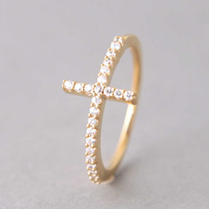 Yellow Gold CZ Sideways Cross Ring Sterling Silver from kellinsilver.com