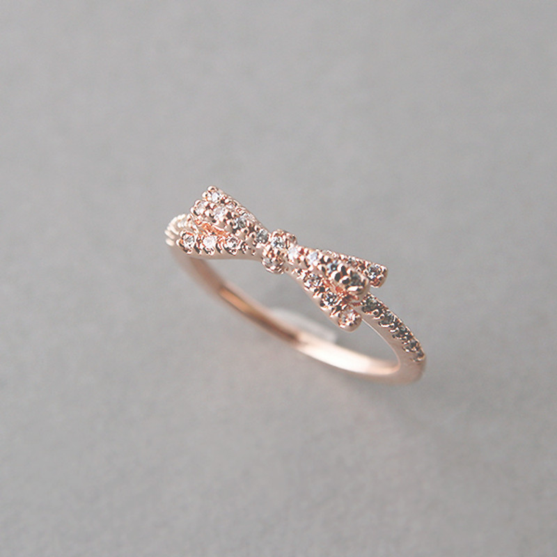 CZ Ribbon Bow Ring Rose Gold from kellinsilver.com