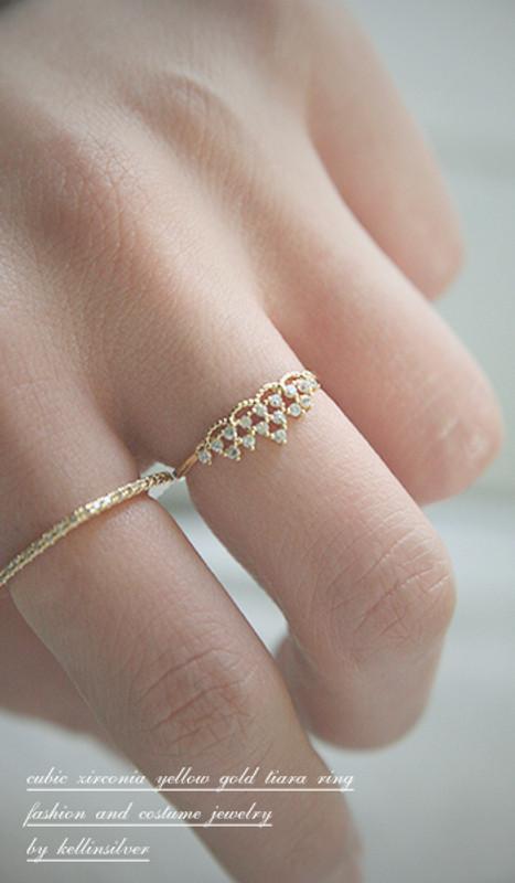 CZ Princess Tiara Ring Gold from kellinsilver.com