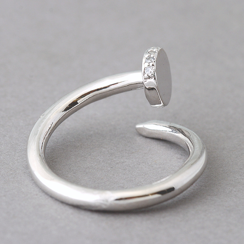 CZ White Gold Nail Ring Sterling Silver FROM KELLINSILVER.COM