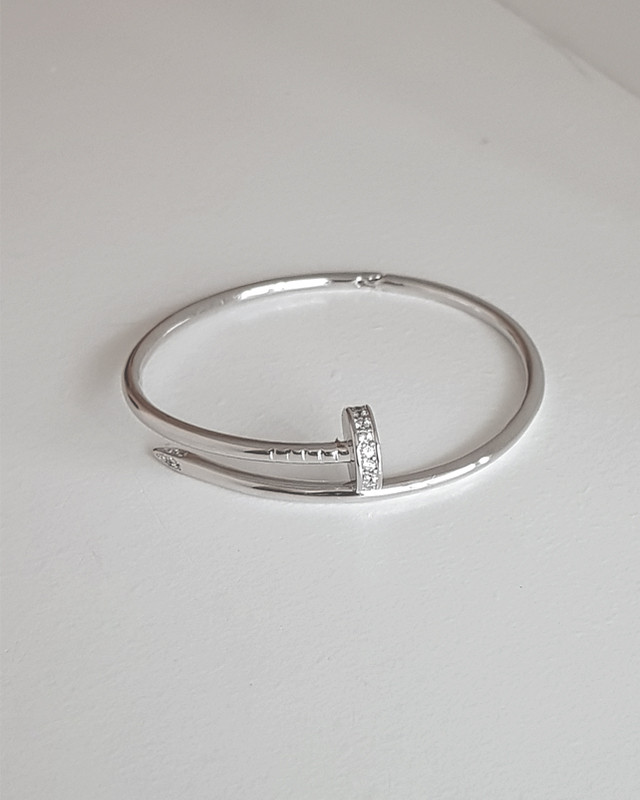 CZ White Gold Nail Cuff Bracelet Sterling Silver from kellinsilver.com