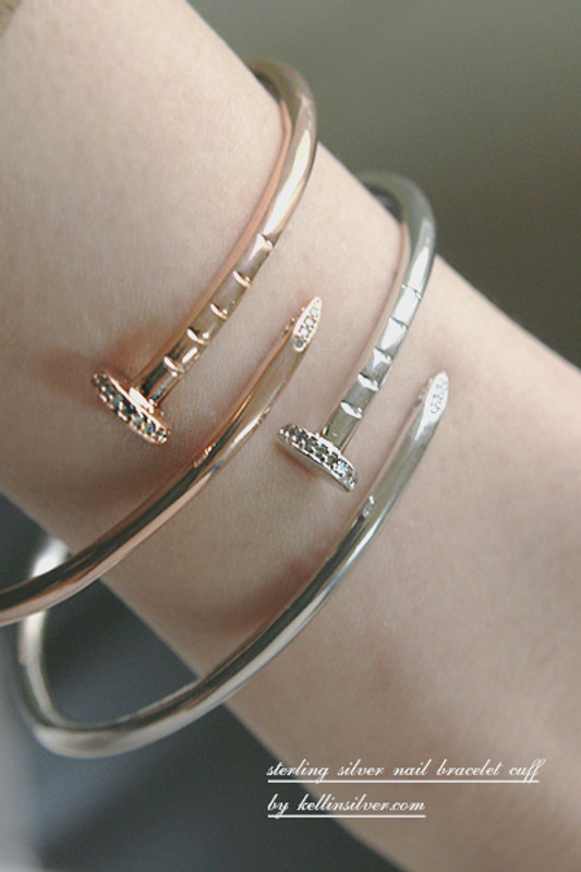 CZ Rose Gold Nail Cuff Bracelet Sterling Silver FROM KELLINSILVER.COM