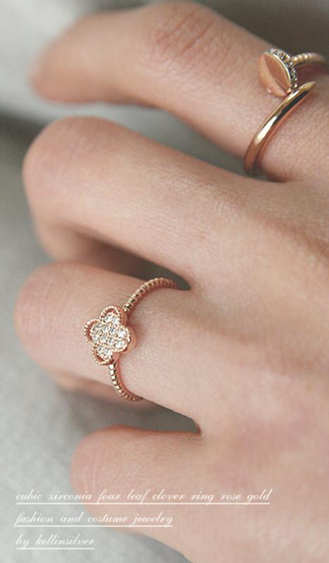 CZ Rose Gold 4 Leaf Clover Ring Sterling Silver from kellinsilver.com