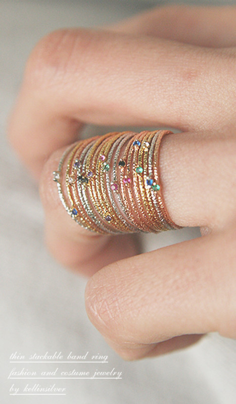 Color Stone Textured Thin Rings Gold Set of 6 from kellinsilver.com