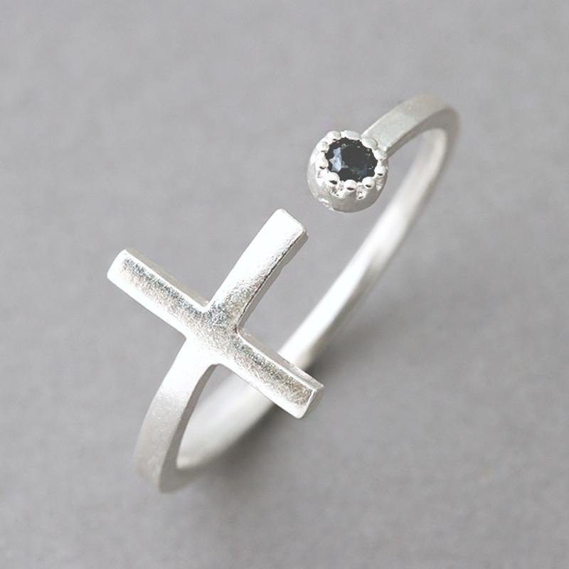 Black CZ Sideways Cross Wrap Ring Sterling Silver