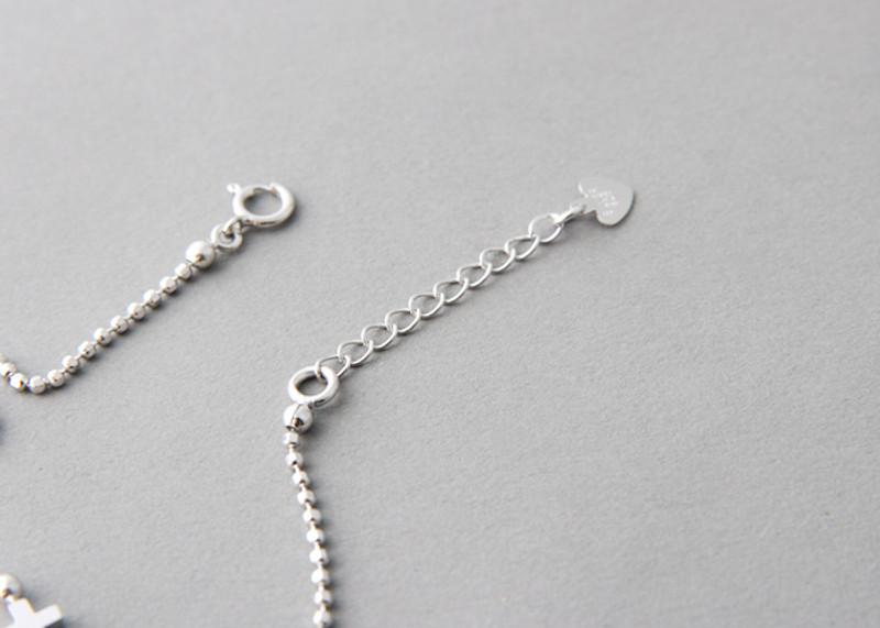 White Gold Cutting Ball Chain Sideways Cross Bracelet Sterling Silver on kellinsilver.com