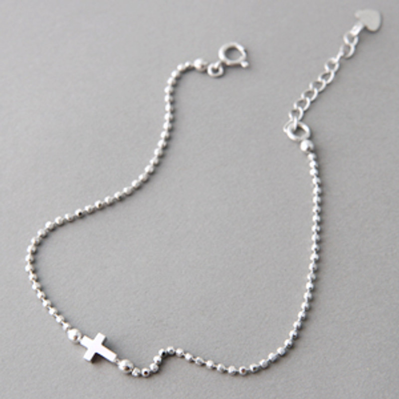 White Gold Cutting Ball Chain Sideways Cross Bracelet Sterling Silver on kellinsilver.com