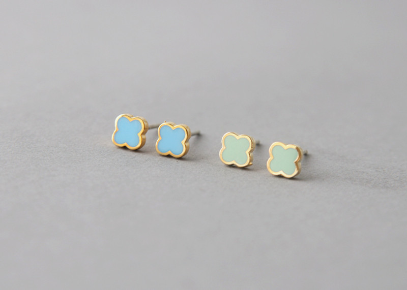 Turquoise Four Leaf Clover Earrings Studs