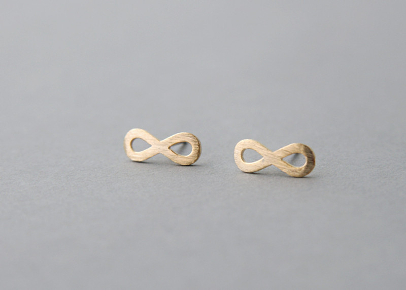 Blushed Gold Infinity Stud Earrings