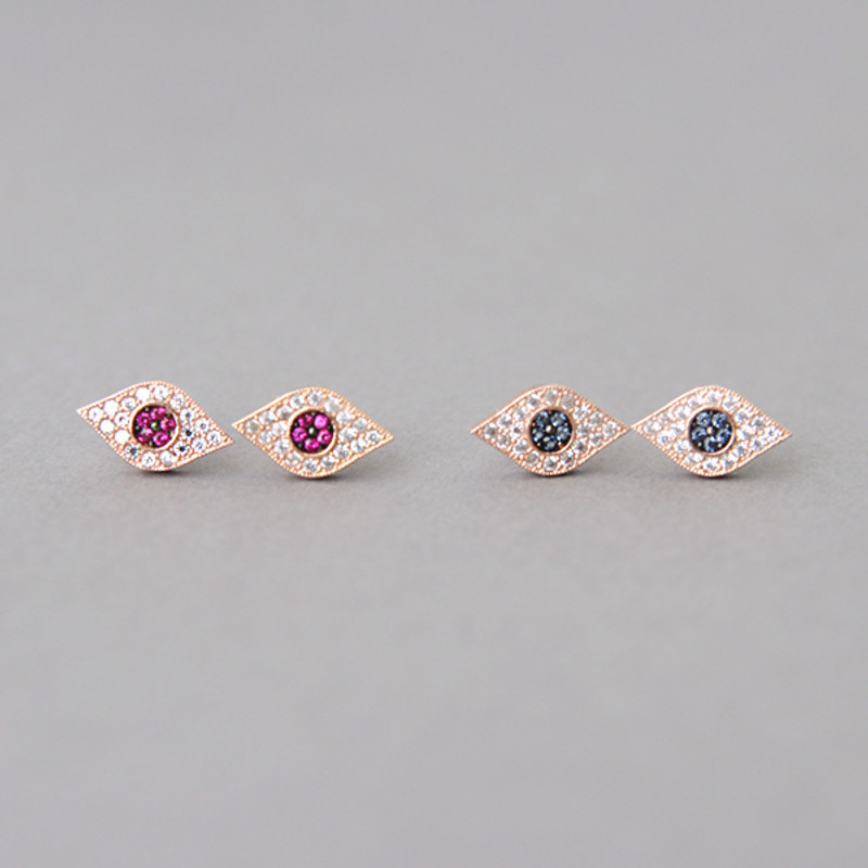 Pave Ruby Swarovski Evil Eye Stud Earrings Rose Gold