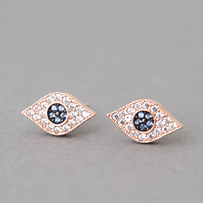 Pave Sapphire Swarovski Evil Eye Stud Earrings Rose Gold