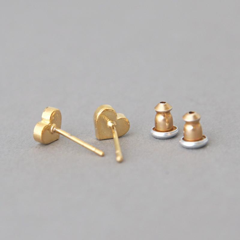Red Heart Stud Earrings Silver Post