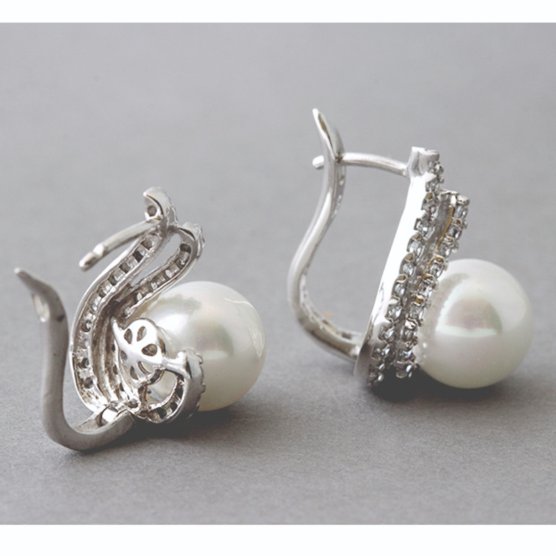 Shell Pearl and CZ Elegant Wave Earrings Sterling Silver