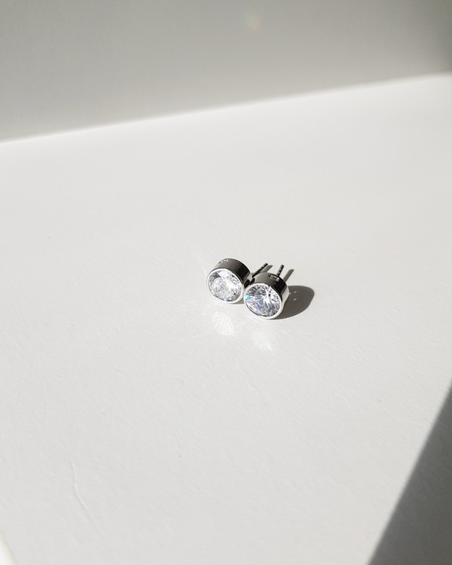 Simple 7mm Round CZ Bezel Stud Earrings Sterling Silver
