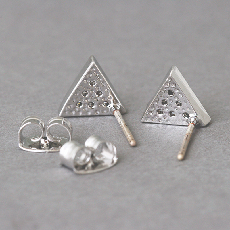 Swarovski Triangle Stud Earrings White Gold