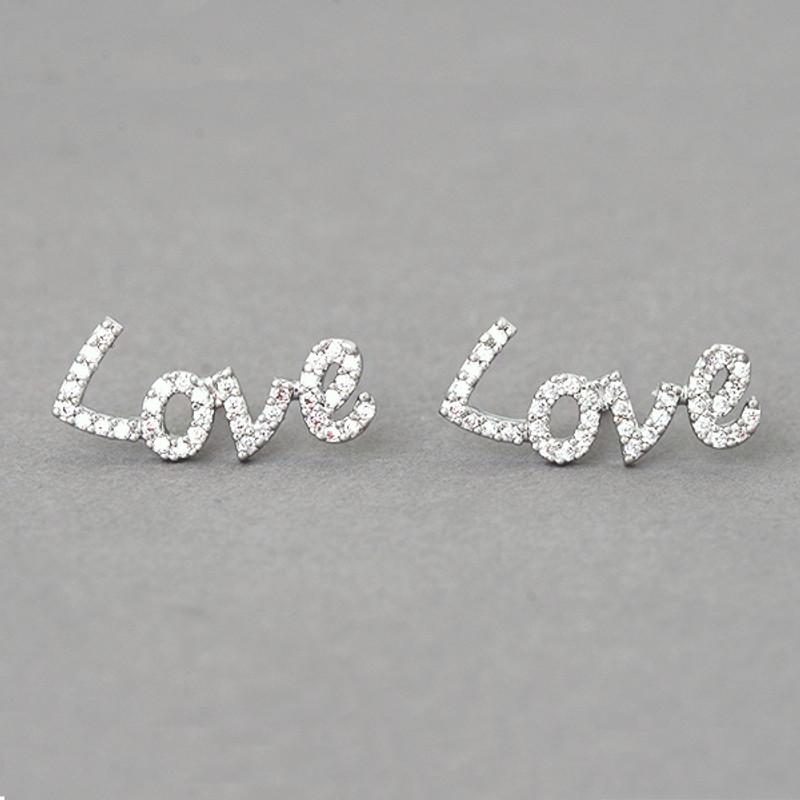 Swarovski Love Stud Earrings White Gold from kellinsilver.com - Love Jewelry, Love Word Earrings, Valentine Earrings