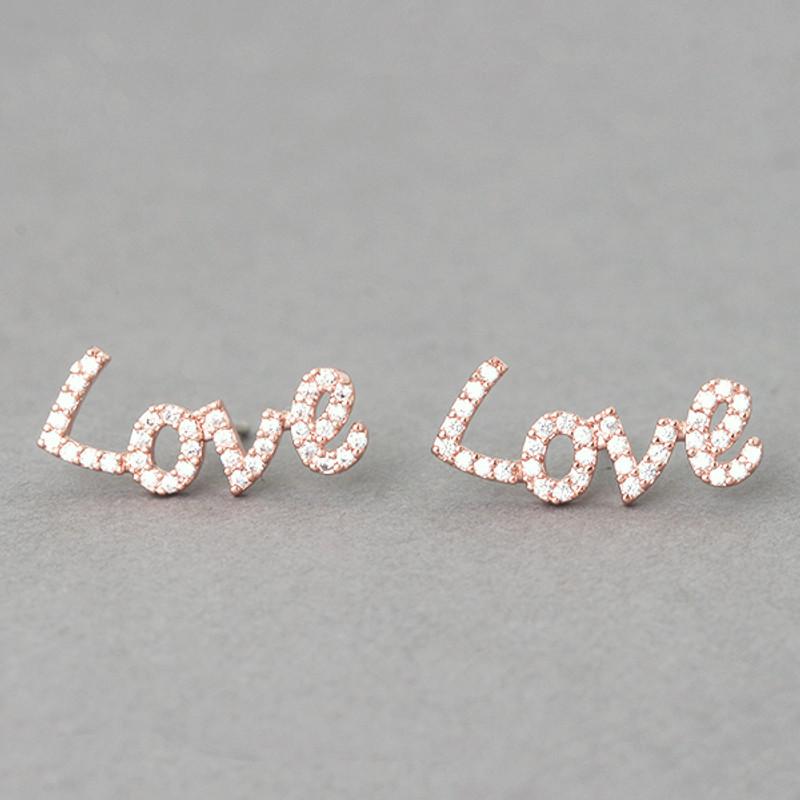 Swarovski Love Stud Earrings Rose Gold