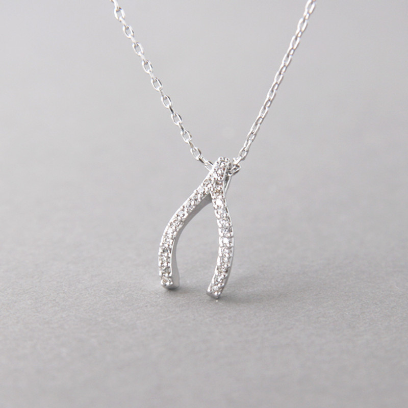 Swarovski White Gold Wishbone Necklace Sterling Silver FROM KELLINSILVER.COM