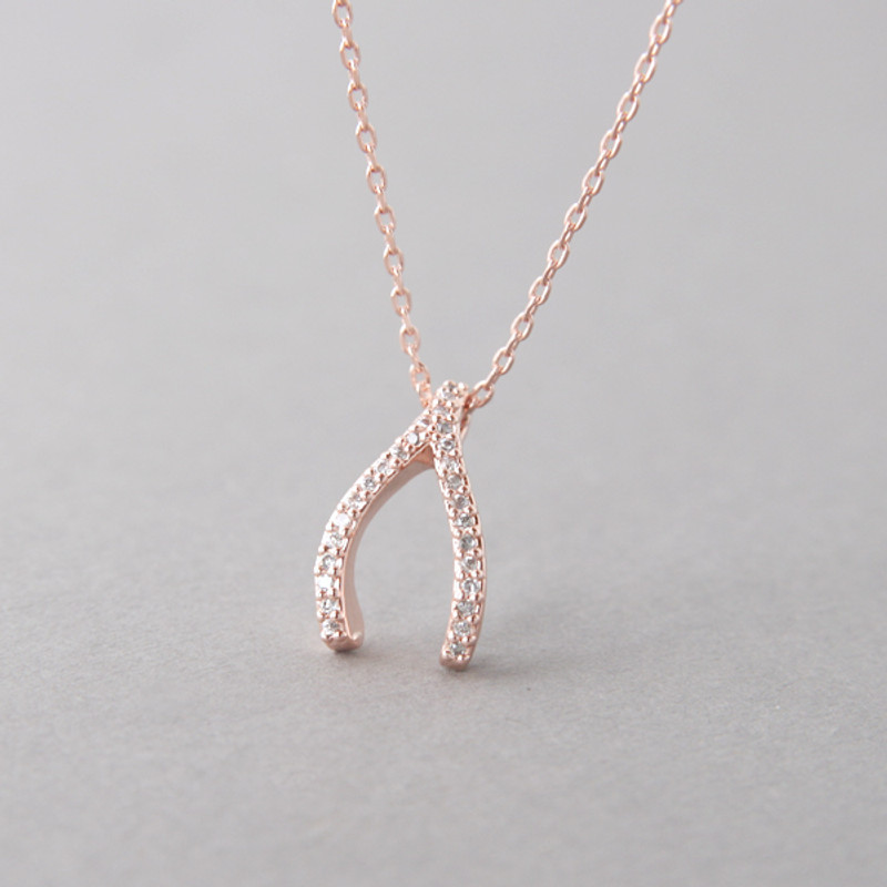 Swarovski Rose Gold Wishbone Necklace Sterling Silver from kellinsilver.com