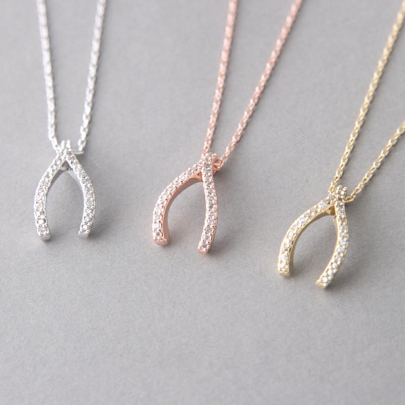 Swarovski Rose Gold Wishbone Necklace Sterling Silver from kellinsilver.com
