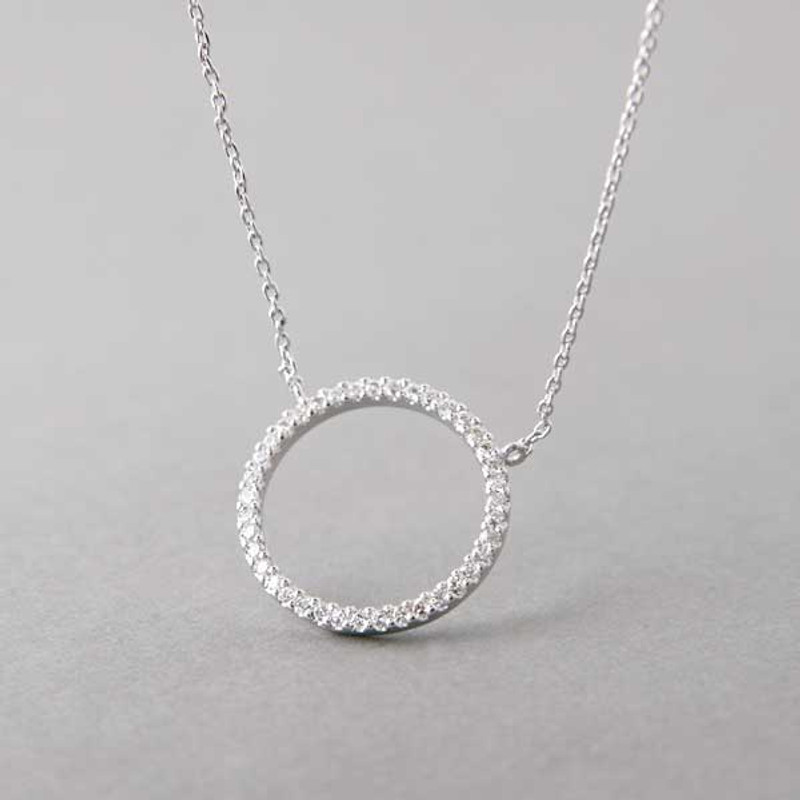 Swarovski White Gold Outline Circle Necklace Sterling Silver FROM KELLINSILVER.COM