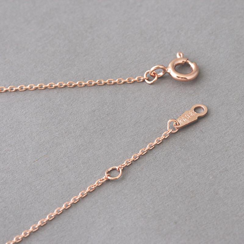Pave Rose Gold Four Leaf Clover Necklace Sterling Silver