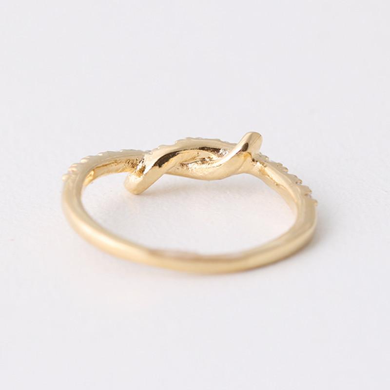 CZ Gold Knot Midi Ring from kellinsilver.com