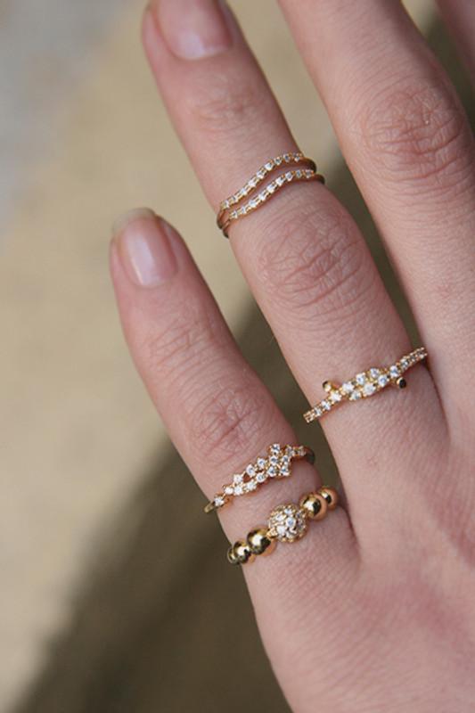 CZ Isavel Gold Above Midi Ring on kellinsilver.com