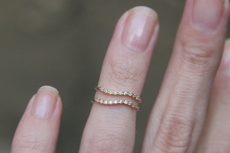 CZ Wave Gold Thin Rings Set of 2